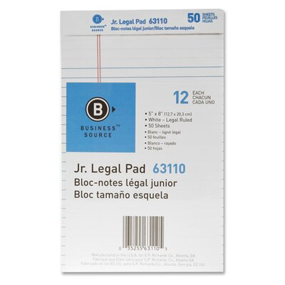 Business Source Micro-Perforated Pad, Legal Ruled, 50 Sheets, Legal, White, 12-Pack