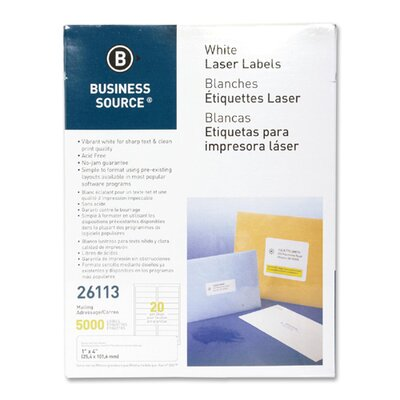 """Business Source Mailing Labels, Laser, 1""""x4"""", 5000 per Pack, White"""