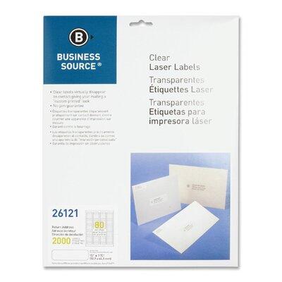 "Business Source Laser Labels, Return Address, 1/2""x1-3/4"", 2000 per Pack, Clear"
