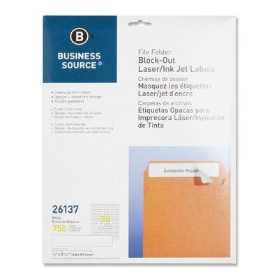 "Business Source Block-Out File Folder Labels, Laser/Inkjet, 750 per Pack, 2/3""x3-7/16, White"
