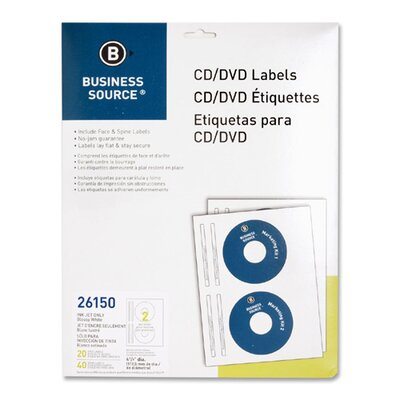 Business Source Label, CD/DVD, Inkjet, Glossy, 20 per Pack, White