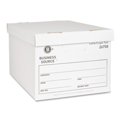 Business Source Storage Boxes, Letter/Legal, White, 12-Pack