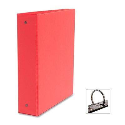 "Business Source Round Ring Binder, w/ Pockets, 2"", Red"