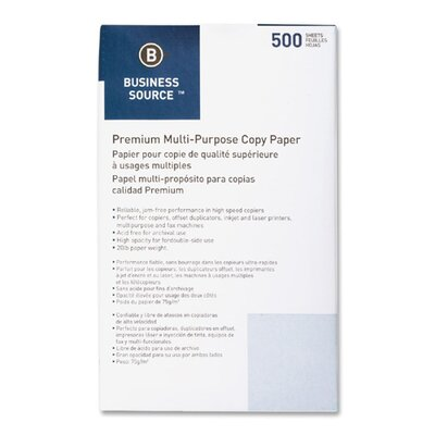 Business Source Multipurpose Paper, 92 Bright, 20 lbs, Legal, 10 Reams per Box, White