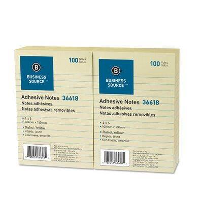"""Business Source Adhesive Notes, Ruled, 4""""x6"""", 100 Sheets per Pad, 12 per Pack, Yellow"""