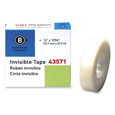 """Business Source Transparent Tape, Refill, 1"""" Core, 1/2""""x1296"""", Clear"""