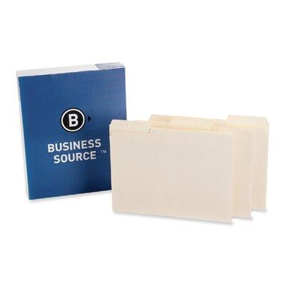 Business Source Interior File Folders, 1/3 Cut Assorted, Letter, 100 per Box, Manila
