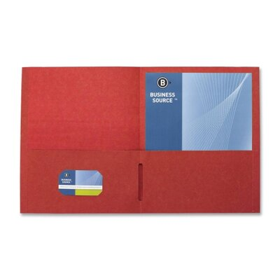"Business Source 2-Pocket Folders, 125 Sh. Cap., 11""x8-1/2"", 25 per Box, Red"