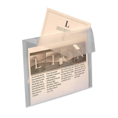 """Lion Office Products Poly Envelope, w/ Front Pocket, 12-1/2""""x9-3/4"""", Clear"""