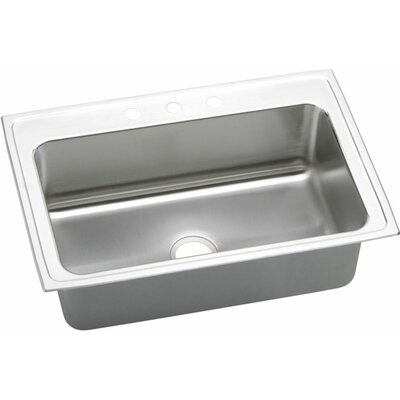 "Elkay Lustertone 33"" x 22"" Extra Deep Self-Rimming Kitchen Sink"