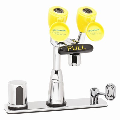 """Speakman Eyesaver Centerset Faucet with 8"""" Deck Plate, Optional Thermostatic Mixing Valve, Manual Override and Ac Powered"""