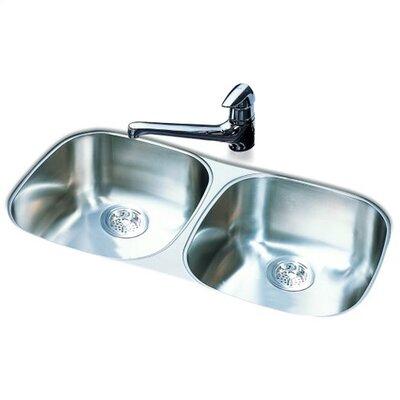 """FrankeUSA 32"""" x 18"""" Double Bowl Undermount Kitchen Sink"""