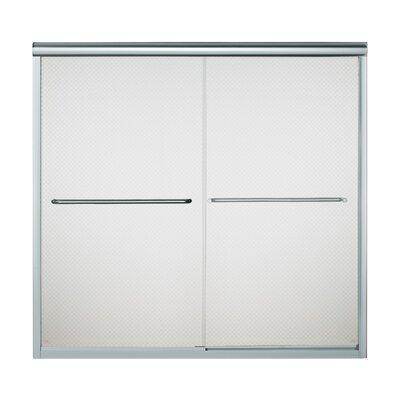 "Finesse 58.06"" x 59.63"" Sliding Frameless Bath Door with Cirkette Glass Product Photo"