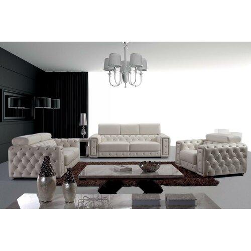 Vig furniture divani casa lumy 3 piece leather living room for Three piece leather living room set