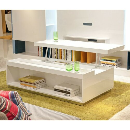 Modrest Upton Modern Square Glass Coffee Table Coffee: Modrest Coffee Table With Lift Top