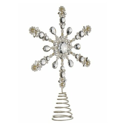 Glamour Time Shimmer Glittered Snowflake Christmas Tree Topper by Tori Home