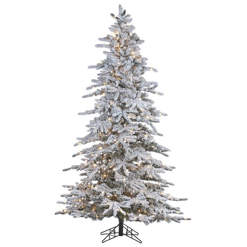 Glit Flocked 7.5' White Artificial Christmas Tree with 500 ...