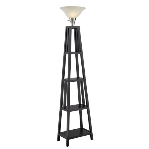Normandelighting 695quot shelf torchiere floor lamp for Torchiere floor lamp with shelves