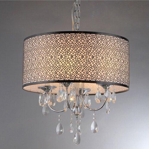 Warehouse Of Tiffany Lush 4 Light Crystal Drum Chandelier