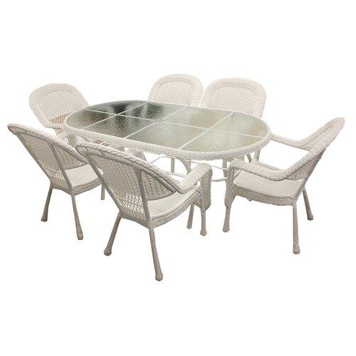 lb international 7 piece resin wicker patio dining set