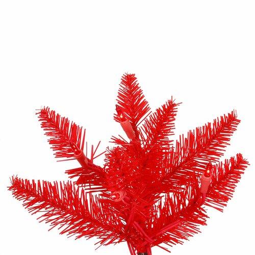 Vickerman 6.5 Red Slim Fir Artificial Christmas Tree with 400 Mini