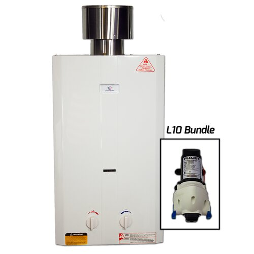 2 6 gpm tankless portable water heater with flojet pump Tankless water heater for 4 bedroom house