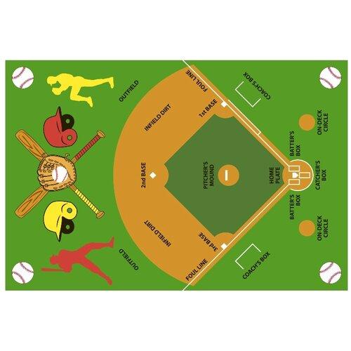 Baseball Rug: Fun Time Baseball Field Kids Rug