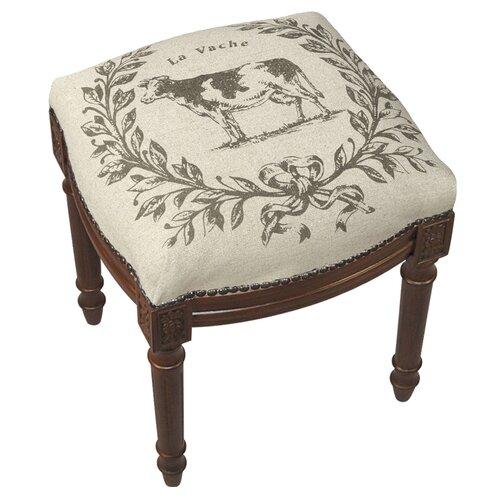 Cow Linen Upholstered Vanity Stool With Nailhead Wayfair