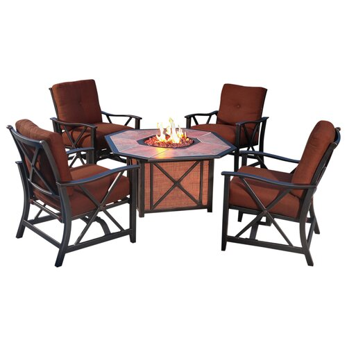 Seating Sets Haywood Haywood 5 Piece Deep Seating Fire Pit Set » Home ...
