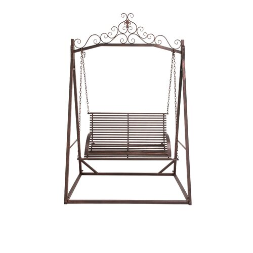 The cool metal garden porch swing wayfair for Cool porch swings