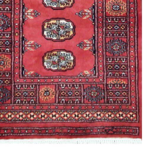 Persian Bokhara Hand Knotted Wool Area Rug: Tribal Bokhara Hand-Knotted Red Area Rug