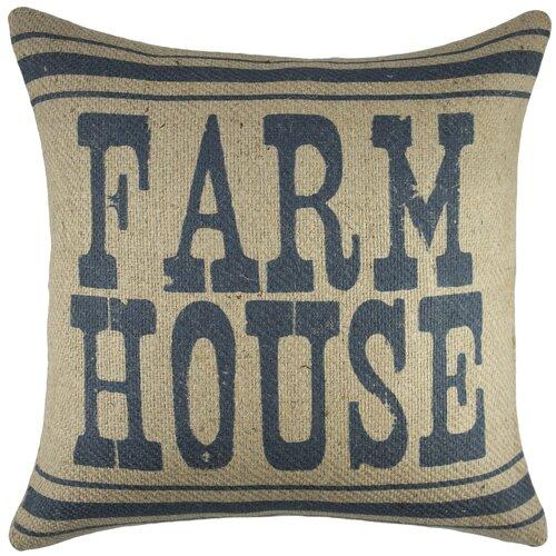 Throw Pillow Covers Farmhouse : Farm House Burlap Throw Pillow Wayfair