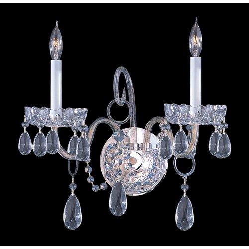 Bohemian Crystal Wall Lights : Bohemian Crystal 2 Light Candle Wall Sconce with Clear Crystal Wayfair