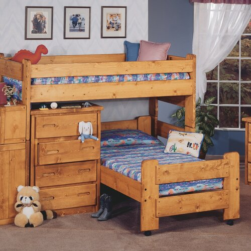 twin l shaped bunk bed with storage wayfair. Black Bedroom Furniture Sets. Home Design Ideas