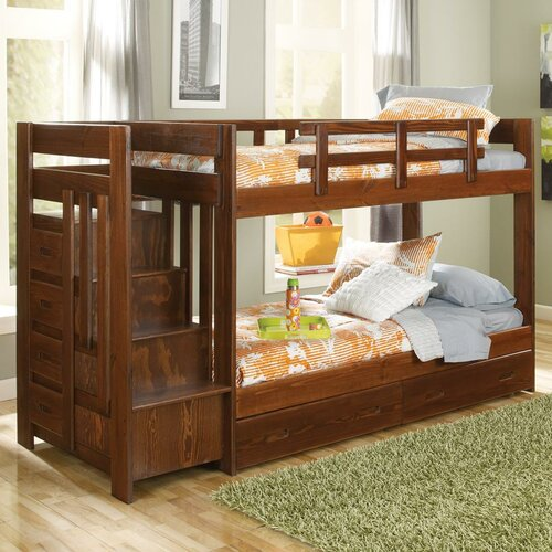 Chelsea home twin bunk bed with storage reviews wayfair for Reverse loft bed