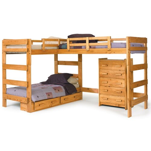chelsea home twin l shaped bunk customizable bedroom set