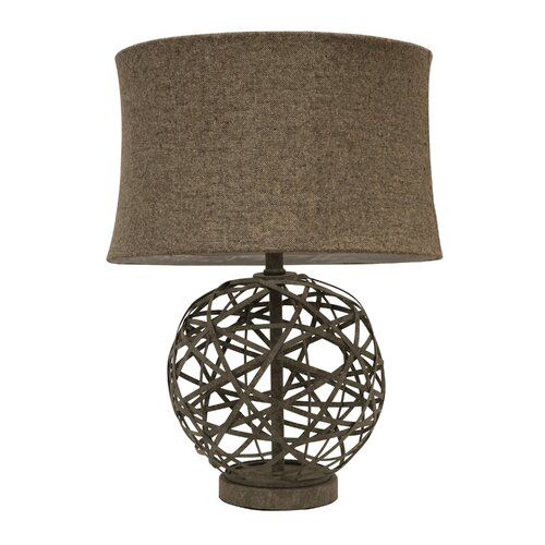 """Metal Ball Lamp Shade: Decor Therapy Strapped Steel Ball 22"""" Table Lamp With Drum"""