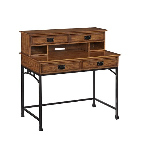 Home styles modern craftsman computer desk with hutch and keyboard tray reviews wayfair - Hutch style computer desk ...