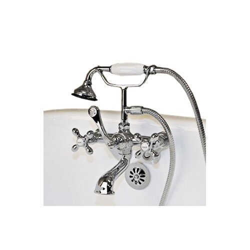 Clawfoot Wall Mount Tub Faucet With Hand Held Shower Wayfair