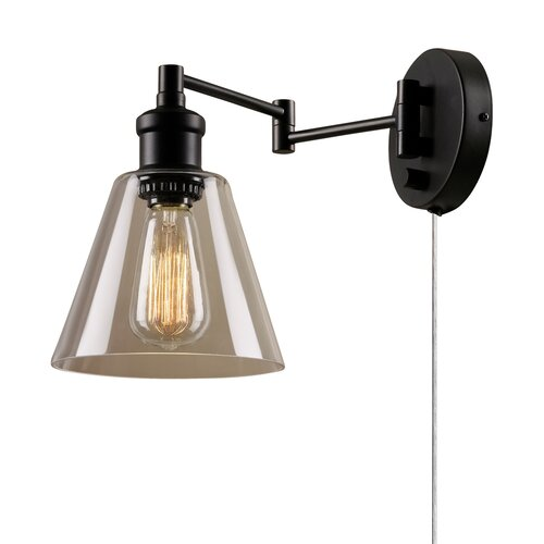 1 light plug in industrial wall sconce with hardwire for Wayfair industrial lamp