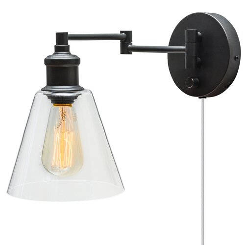 Globe Electric Company Adison 1 Light Plug In Industrial Wall Sconce with Hardwire Conversion ...