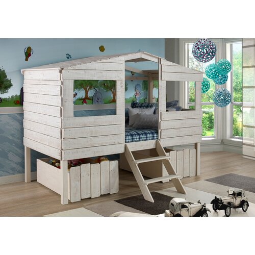 Donco Kids Twin Tree House Loft Bed Rustic Sand  Tlrs