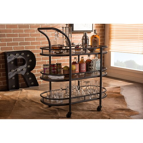 Wood And Metal Industrial Kitchen Cart: Wholesale Interiors Karlin Serving Cart & Reviews