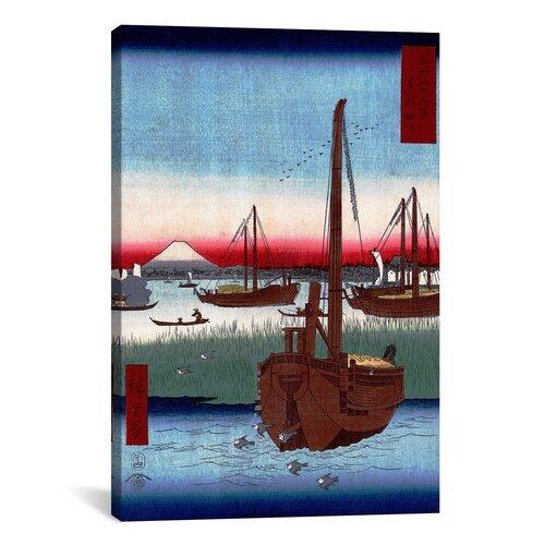 Off Tsukuda Island by Utagawa Hiroshige Painting Print on Canvas by
