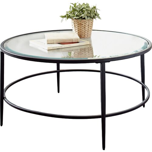 Birch lane harlan round coffee table reviews wayfair for Wayfair round glass coffee table