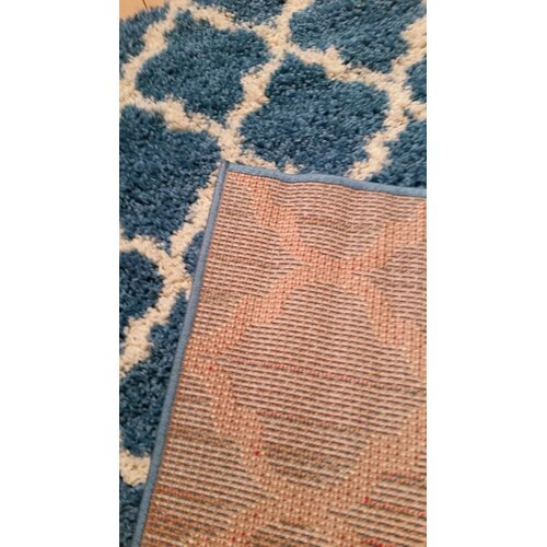 Ottomanson Ultimate Shaggy Contemporary Moroccan Trellis: Ottomanson Ultimate Moroccan Trellis Soft Turquoise Shaggy