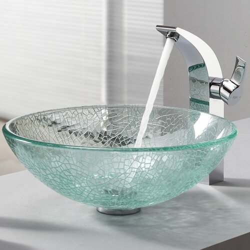 bathroom combos broken glass vessel bathroom sink with single handle single hole faucet wayfair. Black Bedroom Furniture Sets. Home Design Ideas