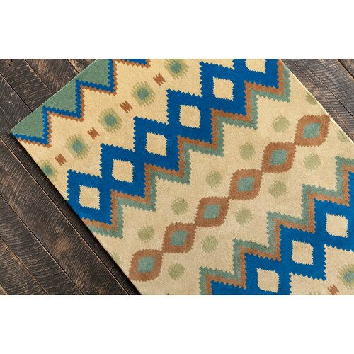 Allie Hand Tufted Wool Yellow/navy Blue Area Rug