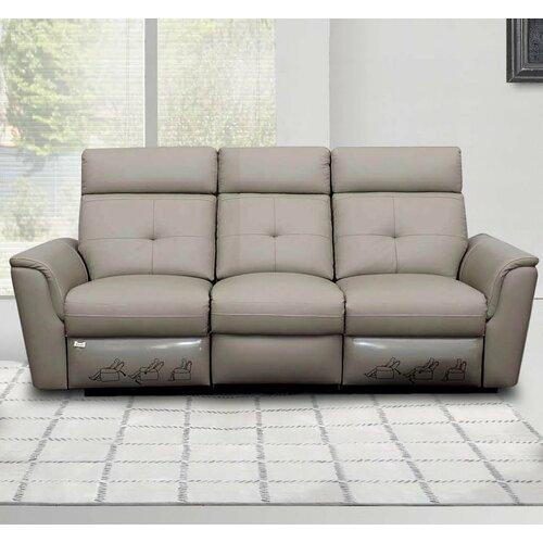 Noci Leather Reclining Sofa Wayfair