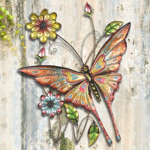 Sunjoy butterfly and flowers outdoor wall decor reviews for Outdoor butterfly decor